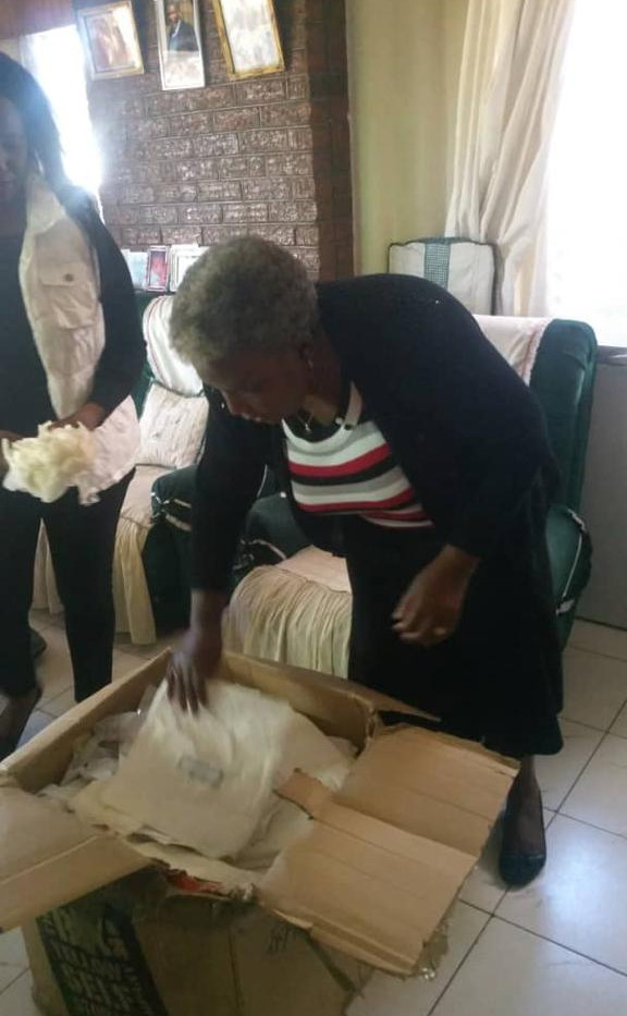 Our Project Coordinator Siphiwo Nkomo Preparing Donations