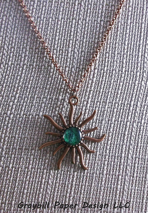 Small Copper Sun Pendant