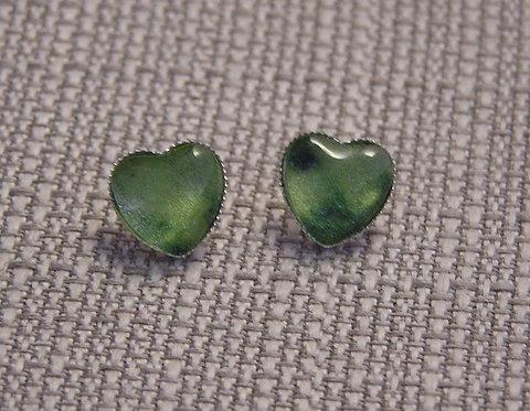 Green Heart Post Earring