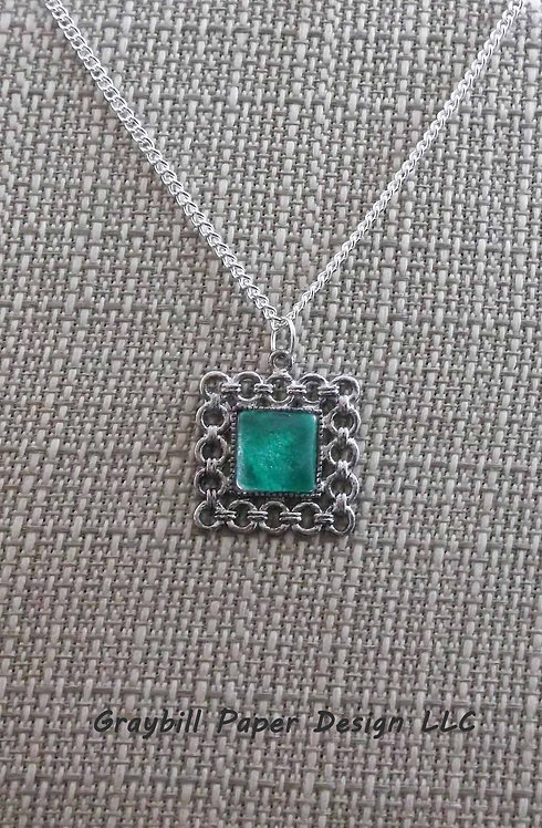 Linked Style Square Pendant