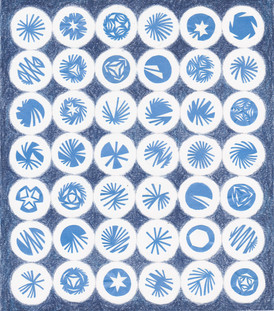 Patterns within Circles- Blue, paper, colored pencil, and protective sheet on paper, 10.25x9.25 inches, 2013