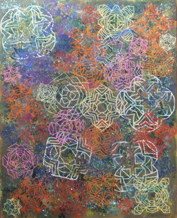 2011 #10, paper, acrylic, glitter, and beads on canvas, 36x29 inches, 2011