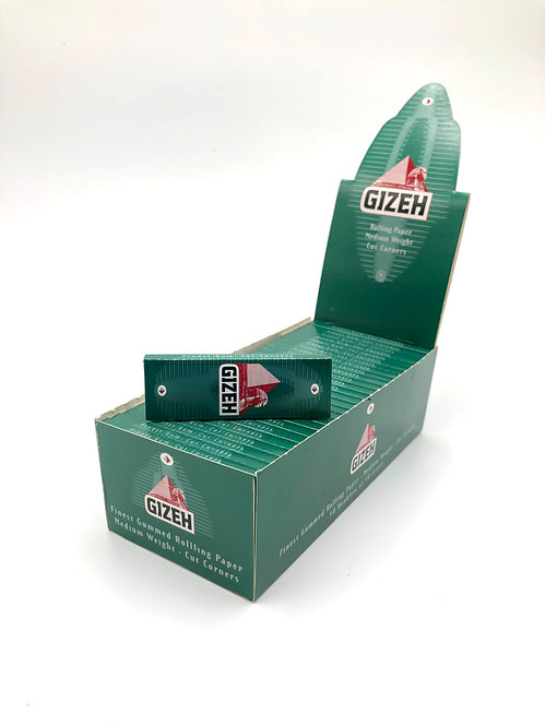 Gizeh Green papers, flax & hemp, cut corner, single wide