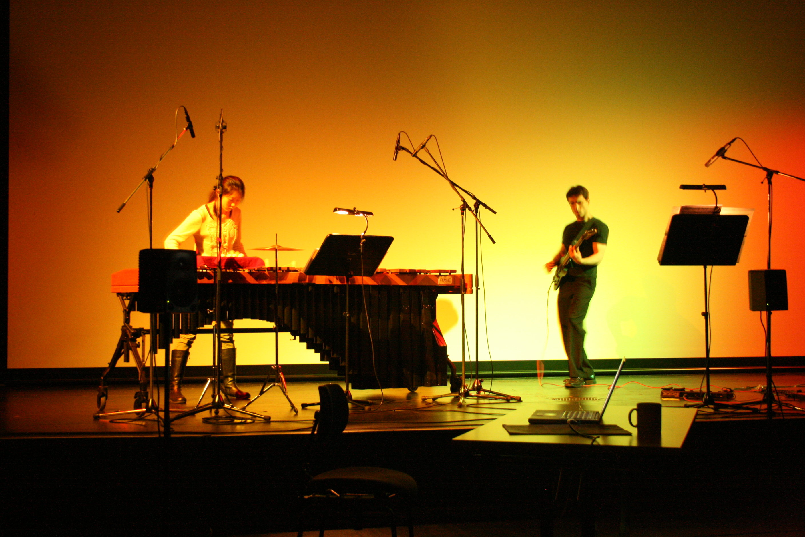 Performing a piece for electric guitar and Marimba at the HfMT in Hamburg