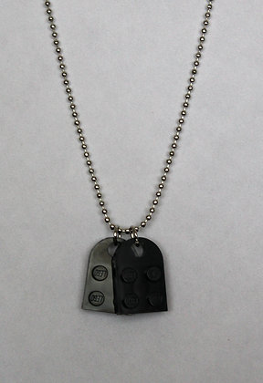 Dog Tags Necklace - Black Lego