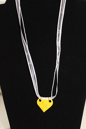 Girls Necklace - Yellow Lego Hear