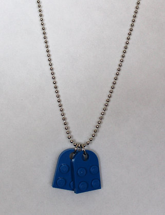 Dog Tags Necklace - Blue Lego