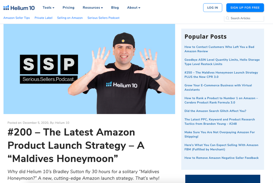 Helium 10 podcast for Amazon Sellers