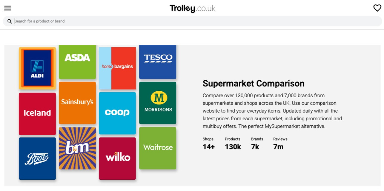 Trolley product comparison website