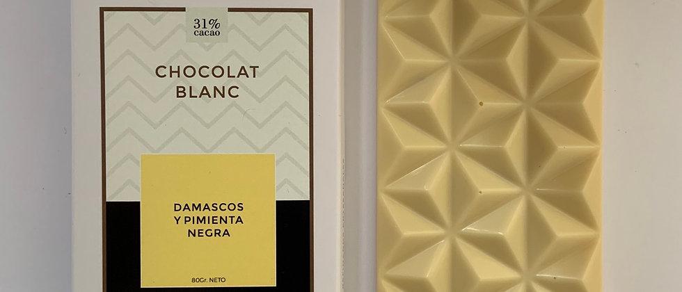 Chocolate blanco con damascos y pimienta negra