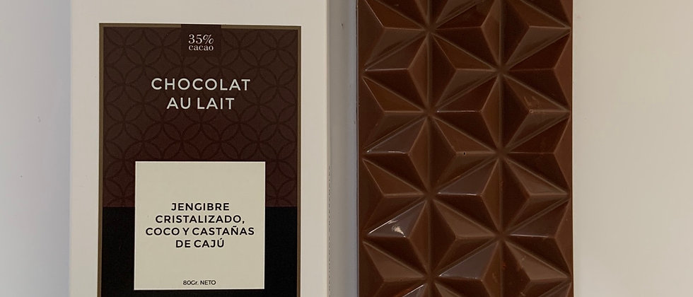 Chocolate con leche con jengibre cristalizado, castañas de cajú y coco