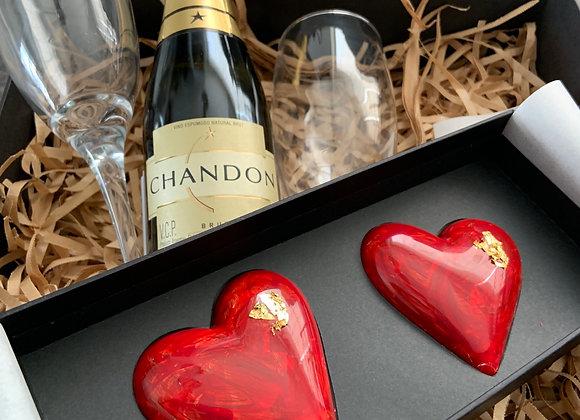2 corazones + Chandon + 2 copas