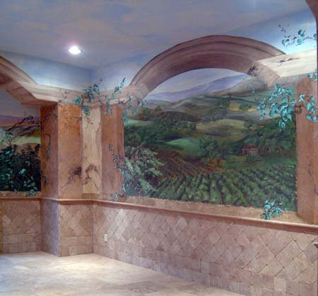 Tuscan Vineyard Mural, view 2
