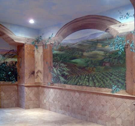 Tuscan Vineyard Mural, view 2