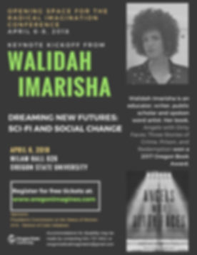 Flier for Walidah Imarisha.