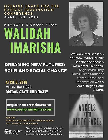 Flier for Walidah Imarisha.