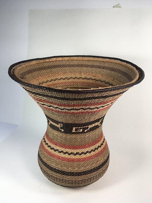 Wuwa Basket (medium; natural, red, black) with monkey design