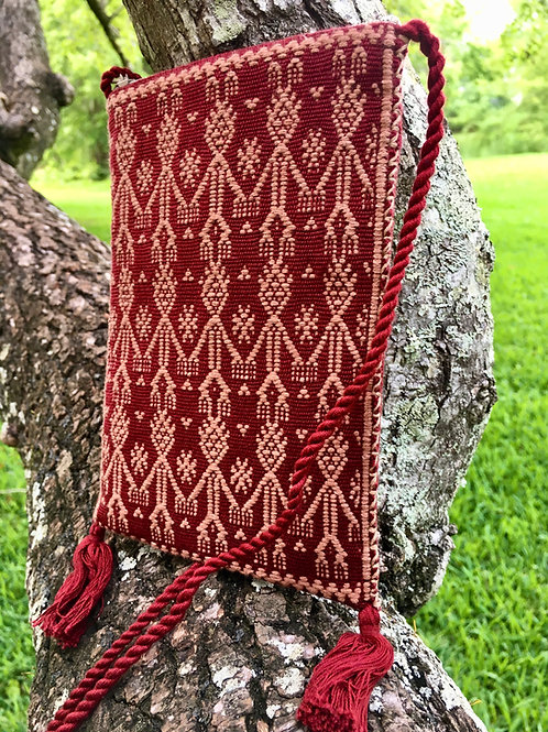 Maya Backstrap Loom Woven Purse (burgandy and rose)