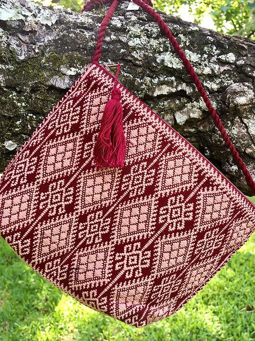 Maya Backstrap Loom Woven Purse scarlet & rose)
