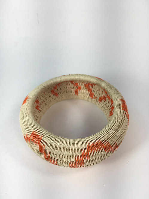 Wounaan Black Palm Bracelet (white/orange)