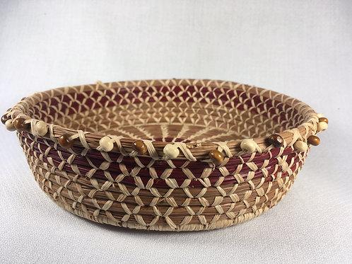 Pine Needle Basket w/beads (small)