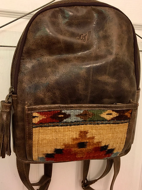 Leather & Woven Backpack