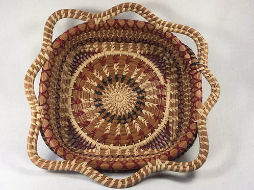 Pine Needle Basket (square/red/natural)