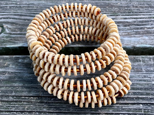 Ostrich Shell Coiled Bracelet