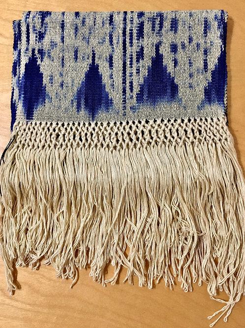 Woven Scarf (cream/indigo blue)