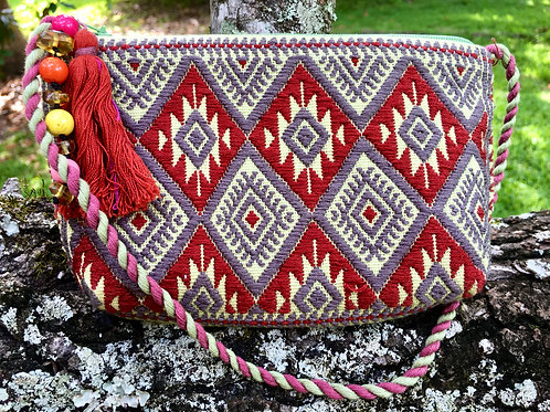 Maya Backstrap Loom Woven Purse (red, grey, green)