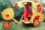 carrosse en carton, vélotaxi, création en carton
