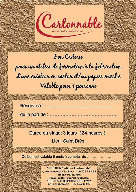 Bon Cadeau - Atelier 3 jours (24 heures)