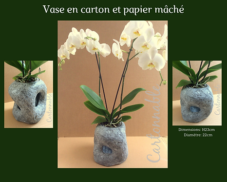 Vase en carton et papier mâché