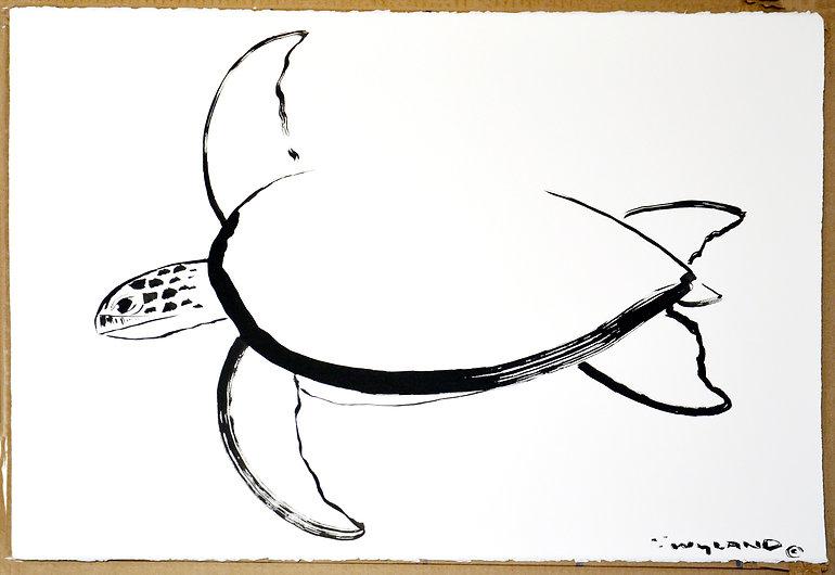 Sea Turtle Chinese Brush Painting