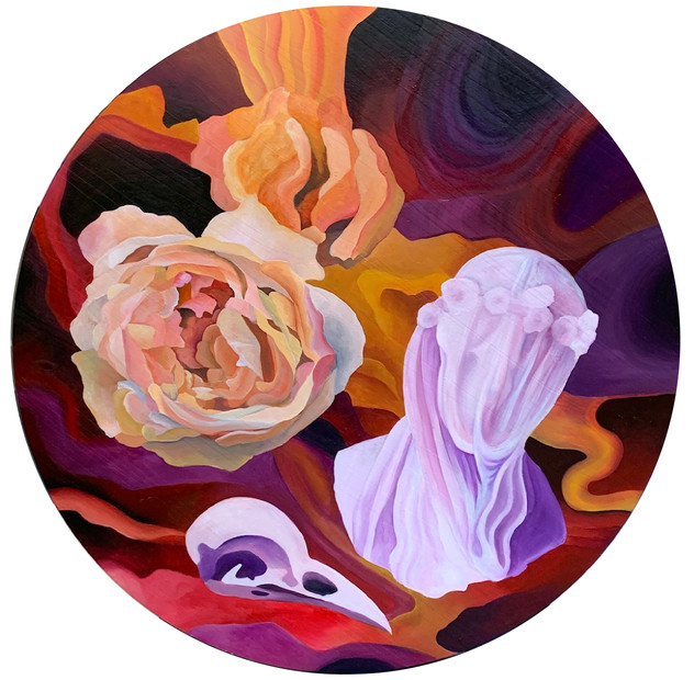 """Veil, Oil on wood, 35""""x35"""", 2019, Contact for price"""