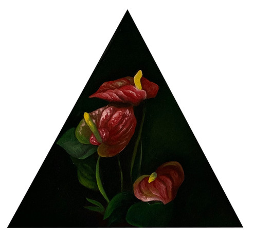 """Laceleaf, 16""""x16"""", Oil on Triangle Canvas, 2021, Contact for pricing"""