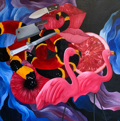 """Yard Flamingos and Switchblades, Oil on Canvas, 40""""x40"""", April 2020"""