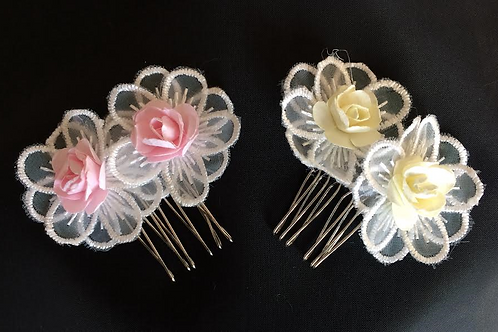 Double flower hair comb