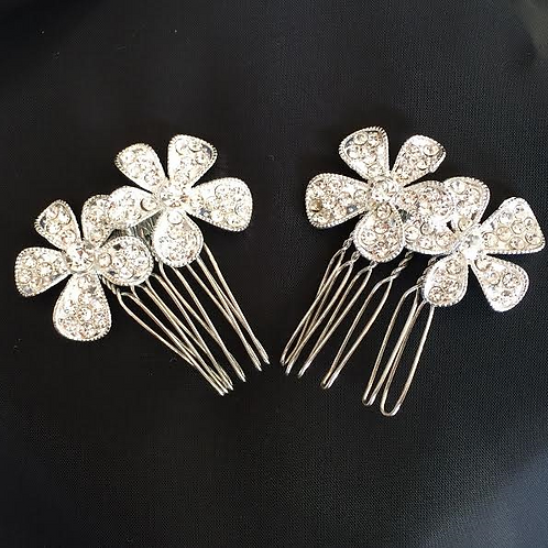Small Double Flowered Hair Combs