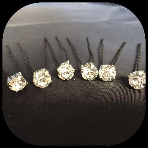 Diamante hair grips 7mm