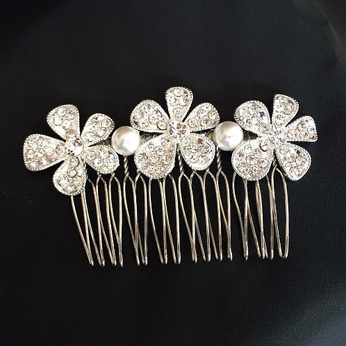 Large Flowered Hair Comb