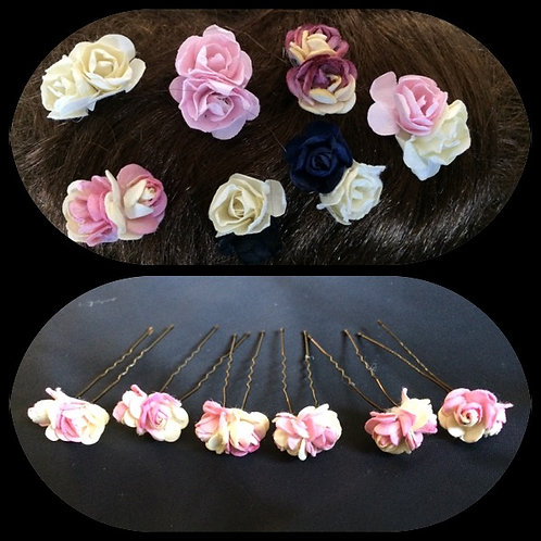 6 x double rose bud hair grips