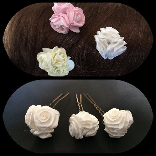 3 x triple rose bud hair grips