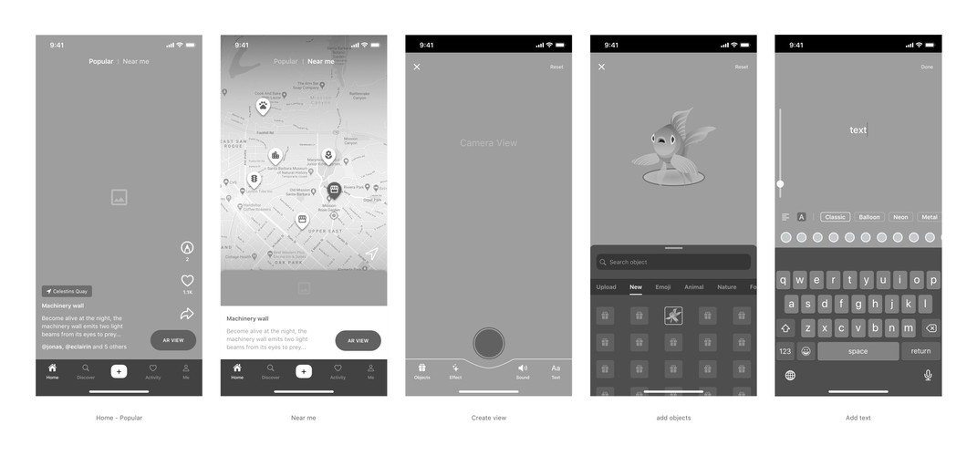 PaperTown AR Wireframe Selected Screens