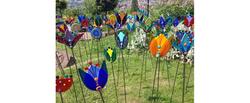 'Glass Flower Garden Stakes'