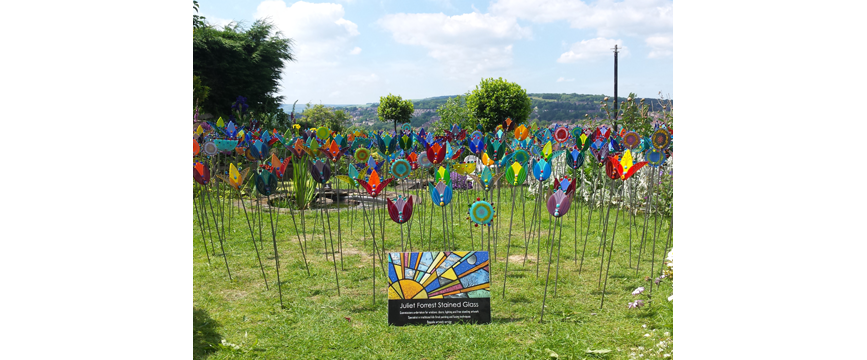 'Glass Flower Garden Stakes'
