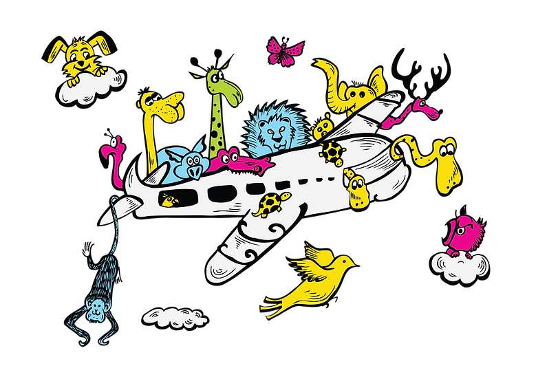 Airplane with animals