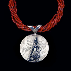 Salmon Sterling Silver Pendant w/ Necklace