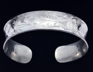 Salmon Anticlastic Sterling Silver Bracelet
