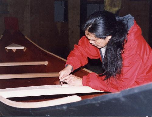 Working on a 22' Cedar Canoe
